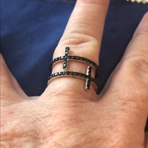 Rarities 1CT Black Spinel Double Cross Ring Size 6
